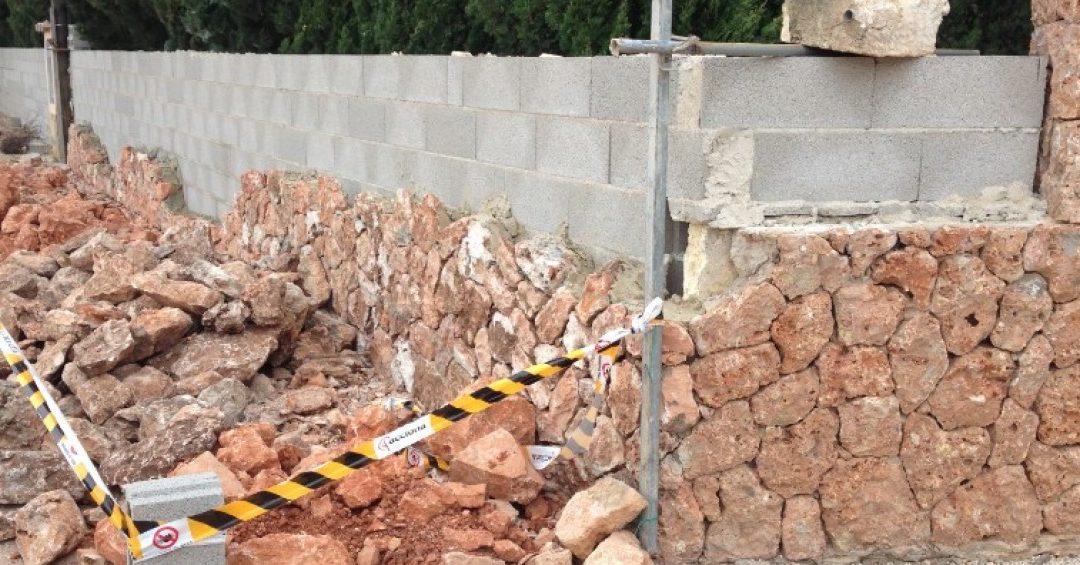 Haciendo un muro de piedra natural